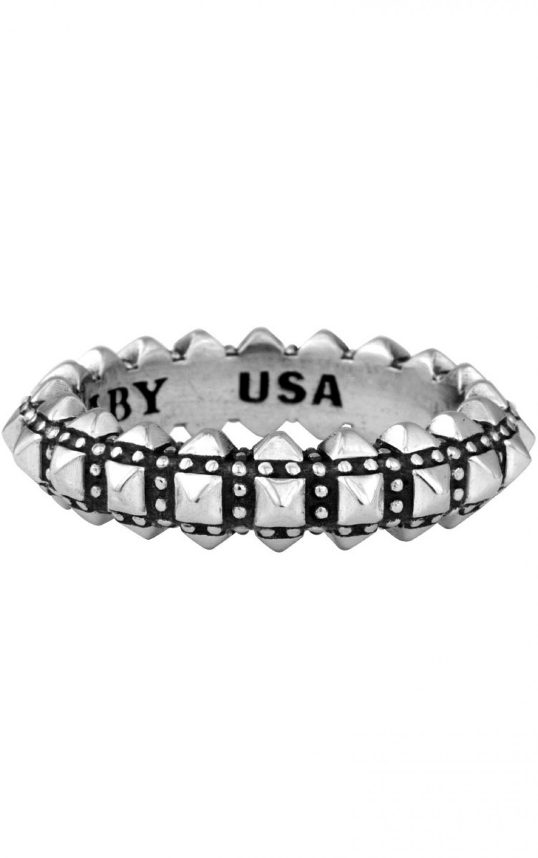 King Baby - Pyramid Studded Thin Band Ring (Q20-5166)