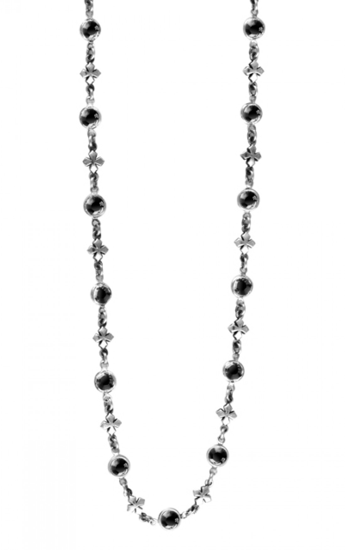King Baby Baby - MB Cross Motif Chain With Black Swarovski Crystal Station (Q52-7106)