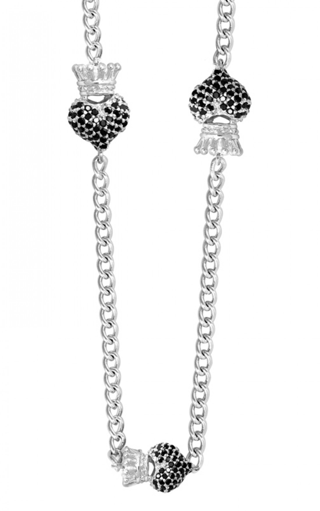 Queen Baby - 3D Black Cz Pave Crowned Hearts (Q56-8030)