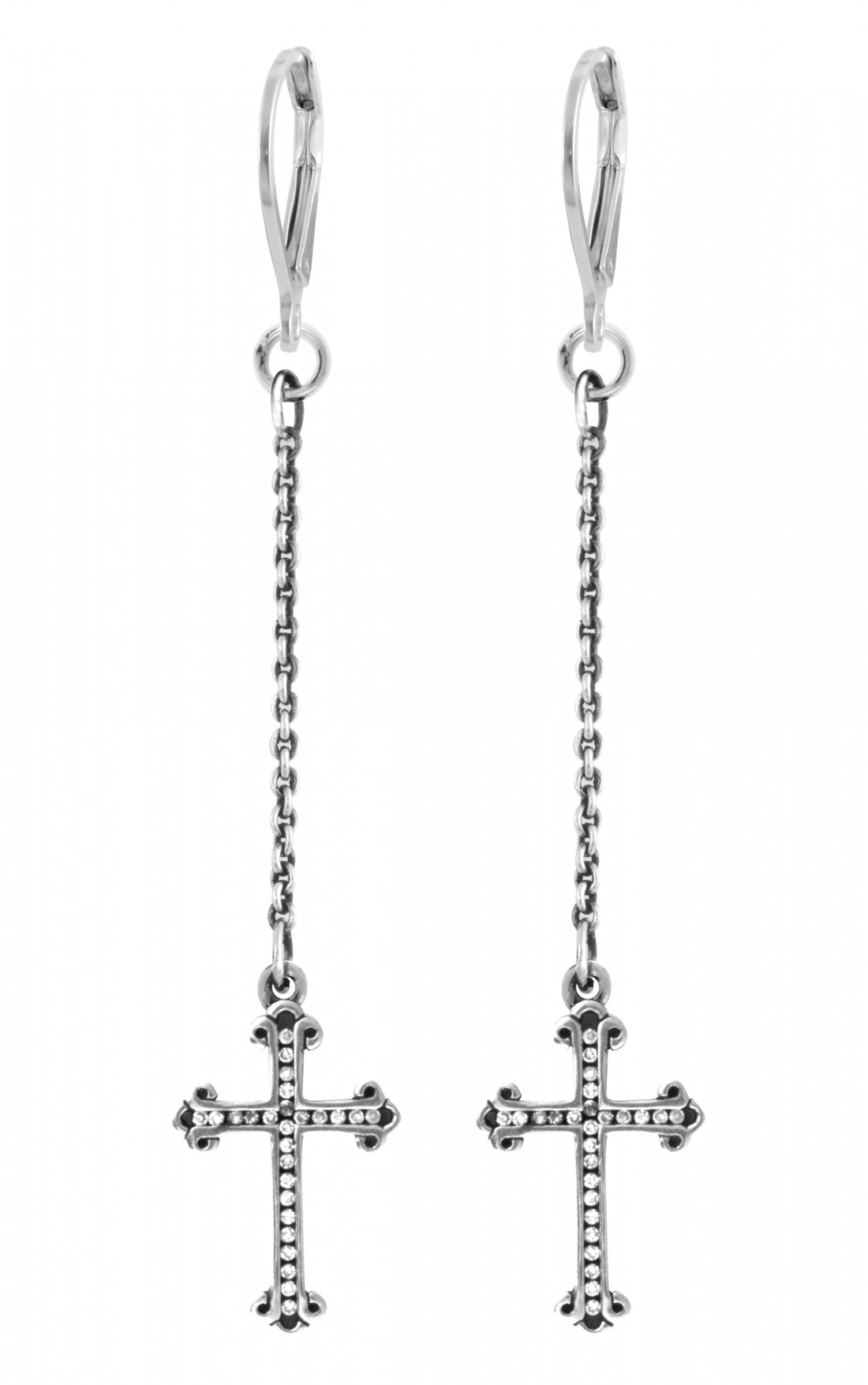 King Baby - Ear Thread Earrings with Traditional Cross Drops with Pave Cz (Q60-9058)