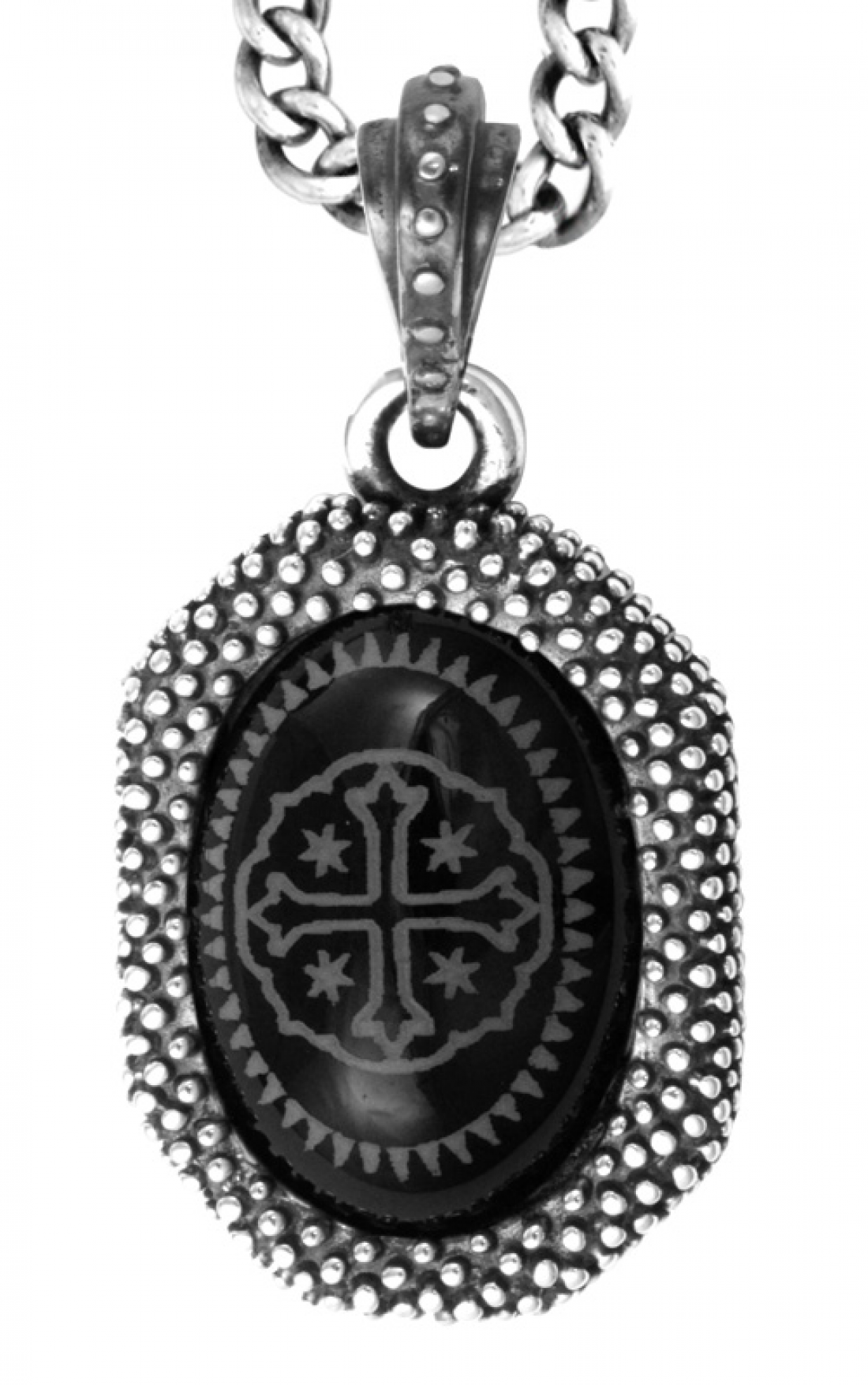 King Baby - Onyx Shipwreck Cross in Industrial Texture Frame Pendant (K10-5318A)