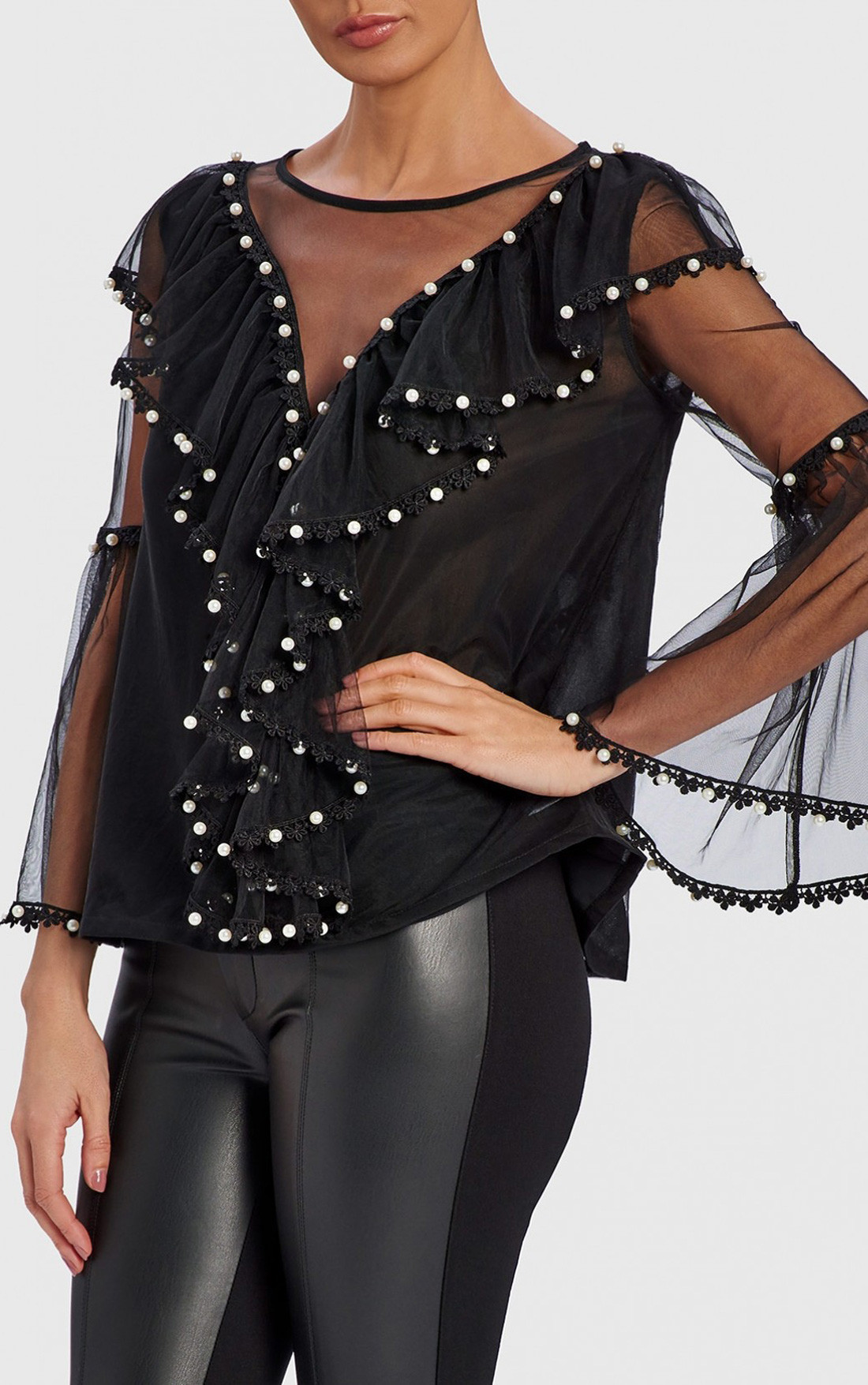 Forever Unique - Sandie Black Top With Pearl Detail (WF4306)