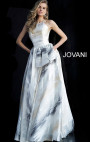 Jovani - White Brush Stroke Patterned Gown