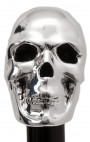 Pasotti - Silver Skull Handle with Black Croc Shoehorn
