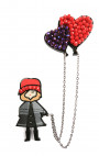 Fashion Drug - Magnetic Fashion Doll with Heart Balloons Brooch