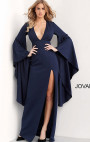 Jovani - Navy Glitter Dress with Flared Sleeve