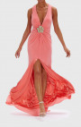 Forever Unique - Jeannie Peach Gown With Diamante Brooch