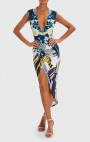 Forever Unique - Raquel Blue, White & Yellow Butterfly Print Dress