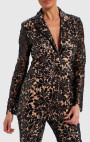 Forever Unique - Serena Black And Nude Floral Sequin Sheer Blazer Jacket