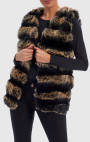 Forever Unique - Alexis Nude and Black Faux Fur Gilet