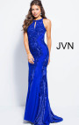 Jovani - Royal Blue Embellished Keyhole Neck Fitted Dress