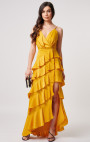 Forever Unique - Kalene Yellow Satin Maxi Dress With Tiered Ruffle Detailing