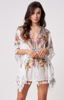 Forever Unique - Chandra White Multi Print Kaftan with Tassel