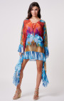 Forever Unique - Tiki Multi Colour Kaftan with Ruffle Detail
