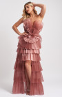 Forever Unique - Rhonda Blush Pink Statement Tiered Pleated Maxi Dress