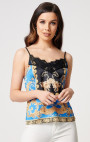 Forever Unique - Marine Baroque Print Camisole Top With Lace Trimming