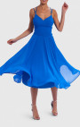 Forever Unique - Bellini Blue Chiffon Skater Midi Dress With Lace-Up Back