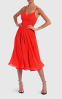 Forever Unique - Bellini Red Chiffon Skater Midi Dress With Lace-Up Back
