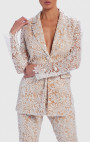 Forever Unique - Serena White And Nude Floral Sequin Sheer Blazer Jacket