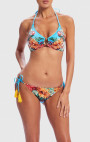 Forever Unique - Muscari Blue Floral Print Embellished Halter-Neck Bikini Set