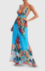 Forever Unique - Nepata Blue Floral Print Pleated Maxi Beach Dress
