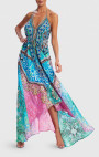 Forever Unique - Wisteria Blue, Green And Pink Scarf Print Asymmetric Maxi Beach Dress