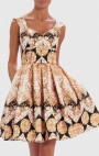 Forever Unique - Palo Black And Gold Baroque Print Skater Dress