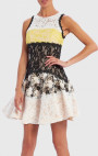 Forever Unique - Milan Black, Yellow And White Contrast Lace Skater Dress