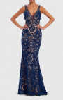 Forever Unique - Glamour Navy Lace Embroidered Embellished Evening Gown