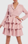 Forever Unique - Trixe Pink Long Sleeve Tiered Ruffle Blazer Wrap Dress