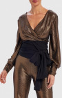 Forever Unique - Remie Metallic Gold And Black Long Sleeve Wrap Top