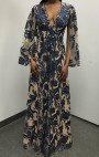 Jovani - Nude Long Sleeve Dress with Navy Floral Applique