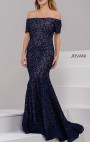 Jovani - Navy Bardot Embellished Lace Dress