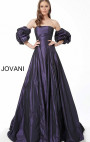 Jovani - Purple Strapless Gown with Ruffle Sleeves