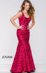 Jovani - Pink Roses Sleeveless Trumpet Dress