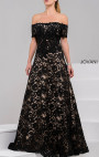 Jovani - Black Off The Shoulder Lace Ballgown