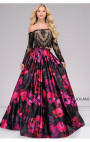 Jovani - Black and Multi Floral Print Two-Piece Long sleeve Ballgown