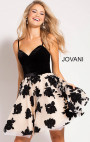 Jovani - Nude Black Floral Skater Dress