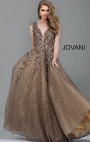 Jovani - Taupe Embroidered Floral Lace A-Line Evening Gown