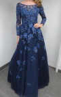 Jovani - Royal Blue Navy Gown with Blue Floral Embroidery