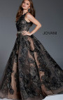 Jovani - Black Floral Sleeveless A-Line Gown