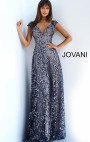 Jovani - Navy Floral Embellished Dress