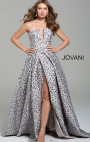 Jovani - Grey Floral Strapless Gown