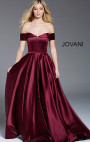 Jovani - Wine Off the Shoulder Pleated A Line Satin Formal Gown