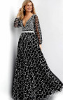 Jovani - Black Long Sleeve Floral Gown with Pearls
