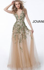 Jovani - Gold Open Back Embellished Dress
