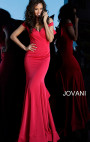Jovani - Red Decollete Fitted Dress with Ruffle Back and Bow