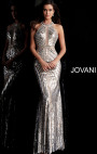 Jovani - Silver Sequin Fitted Sleeveless Dress
