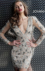 Jovani - Nude Beaded Plunging Neck Long Sleeve Short Dress