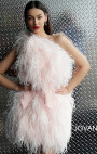 Jovani - Blush Feather One Shoulder Short Dress